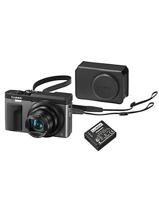 "Panasonic Lumix DC-TZ93 Super Zoom Digital Camera, 4K Ultra HD, 20.3MP, 30x Optical Zoom, Wi-Fi, EVF, 3"" LCD Tiltable Touch Screen, Silver, with Case & Additional Battery Kit"