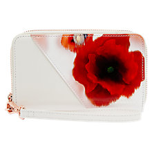 Buy Ted Baker Neomi Playful Poppy Leather iPhone Wristlet Case, Mid Red Online at johnlewis.com