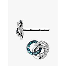 Buy Links of London Treasured Diamond Stud Earrings, Silver/Blue Online at johnlewis.com