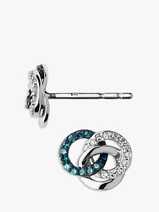 Links Of London Treasured Diamond Stud Earrings Silver Blue
