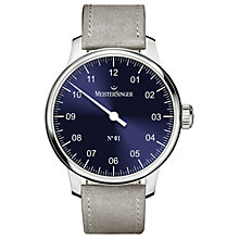 Buy MeisterSinger AM3308 Men's No. 01 Automatic Leather Strap Watch, Grey/Navy Online at johnlewis.com