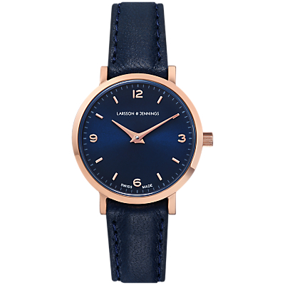 Larsson & Jennings LGN26-L-H-Q-P-RGN-O Women's Lugano Leather Strap Watch, Navy