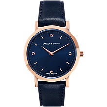 Buy Larsson & Jennings LGN33-L-H-Q-P-RGN-O Women's Lugano Leather Strap Watch, Navy Online at johnlewis.com