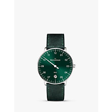 Buy MeisterSinger NE909N-MLN-18 Unisex Neo Automatic Date Leather Strap Watch, Dark Green Online at johnlewis.com
