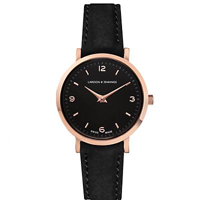 Larsson & Jennings LGN26-L-H-Q-P-RGB-O Women's Lugano Leather Strap Watch, Black