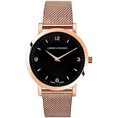 Larsson & Jennings LGN33-CM-H-Q-P-RGB-O Women's Lugano Bracelet Strap Watch, Rose Gold/Black