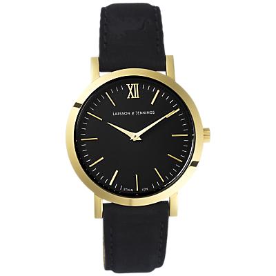 Larsson & Jennings LGN33-LBLK-C-Q-P-GB-O Women's Lugano Leather Strap Watch, Black