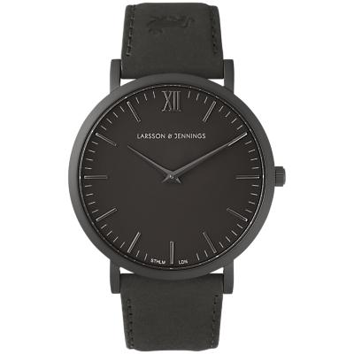 Larsson & Jennings LJ-W-SVART-L-BB Unisex Lugano Leather Strap Watch, Black