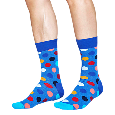 Happy Socks Big Dot Socks, One Size, Blue Melange