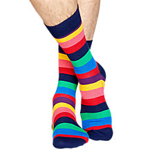 Buy Happy Socks Stripe Socks, One Size, Bright Online at johnlewis.com