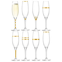 Buy LSA International Deco Champagne Flutes, Set of 8, 225ml, Clear/Gold Online at johnlewis.com