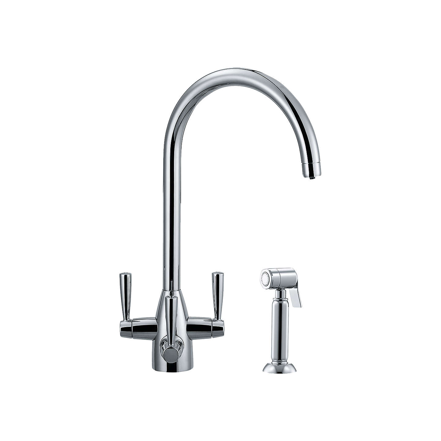 Franke Doric Filterflow Hand Spray 3 Lever Kitchen Tap Silk Steel Online At Johnlewis