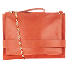 Buy Oasis Leather Across Body Clutch Bag, Mid Orange Online at johnlewis.com