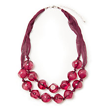 Buy John Lewis Double Layered Fabric Beaded Necklace, Burgundy Online at johnlewis.com