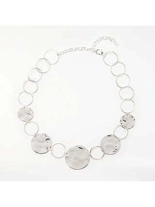 John Lewis & Partners Circle Disc Short Statement Necklace, Silver