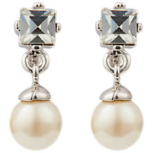 Buy Susan Caplan Vintage 1980s Nina Ricci Silver Plated Faux Pearl and Swarovski Crystal Drop Earrings, Silver/White Online at johnlewis.com