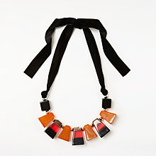 Buy John Lewis Statement Chunky Beaded Necklace, Orange/Black Online at johnlewis.com