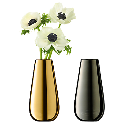 LSA International Flower Metallic Bud Vase Duo, Gold / Platinum