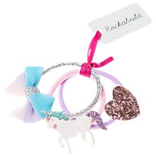 Buy Rockahula Children's Glitter Unicorn Hair Ponies, Pack of 3, Pink Online at johnlewis.com