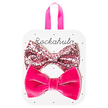 Buy Rockahula Velvet and Glitter Bow Hair Clip, Pack of 2, Pink Online at johnlewis.com