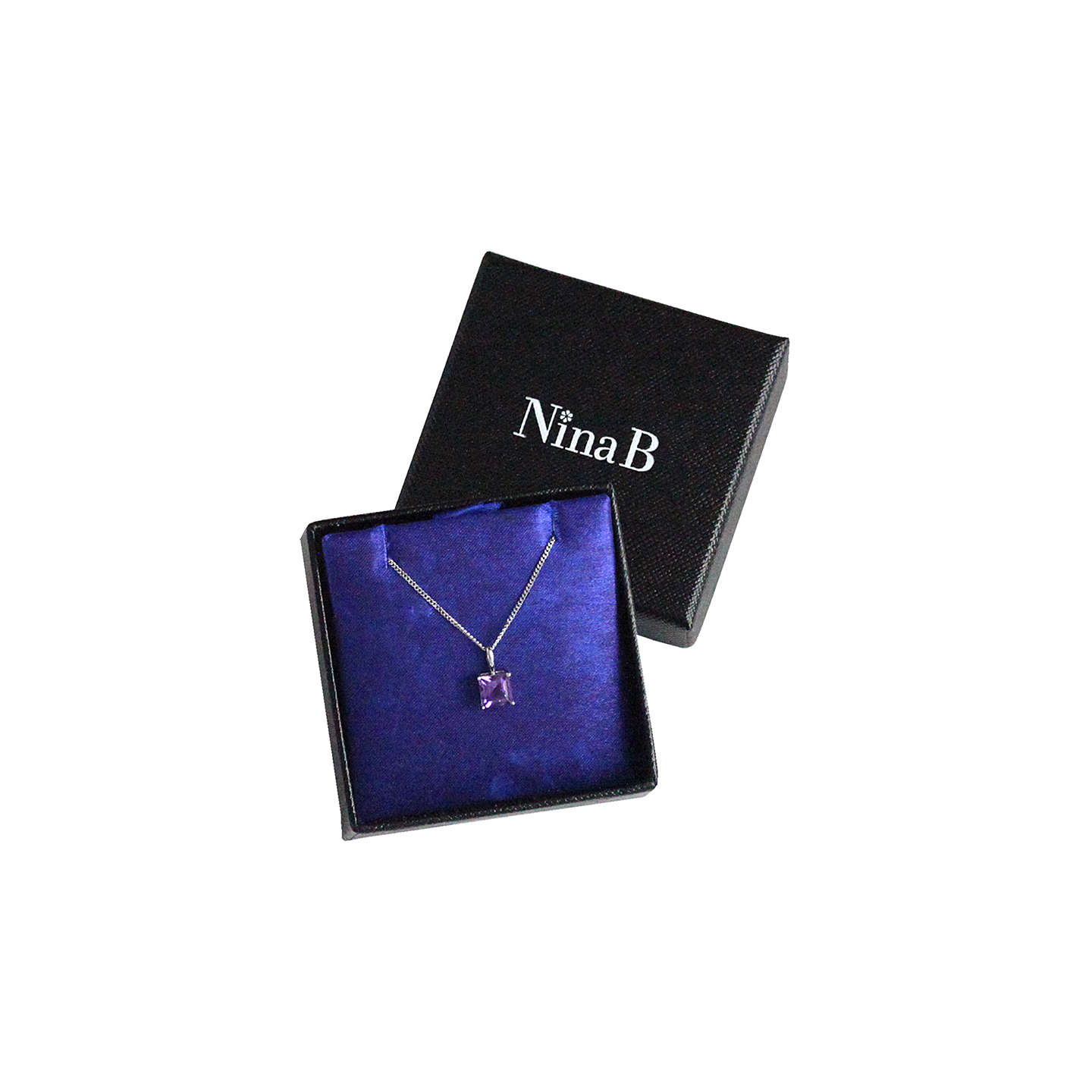 BuyNina B 9ct White Gold Square Pendant Necklace, Amethyst Online at johnlewis.com