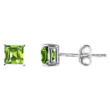 Buy Nina B 9ct White Gold 4 Claw Square Stud Earrings, Peridot Online at johnlewis.com
