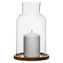 Buy Sagaform Oak Base Glass Candle Lantern With Candle Online at johnlewis.com