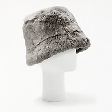 Buy John Lewis Faux Fur Reversible Cloche Hat, Black/Soft Grey Online at johnlewis.com