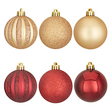 Buy John Lewis Highland Myths Classic Shatterproof Bauble, Red / Gold, Tub of 30 Online at johnlewis.com
