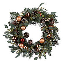 Buy John Lewis Highland Myths Copper Bauble Wreath, Dia.56cm, Green Online at johnlewis.com