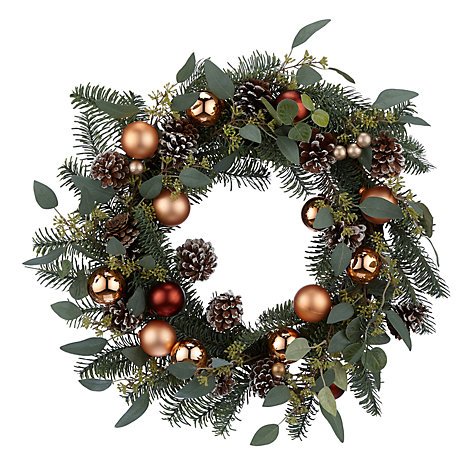 buy john lewis highland myths copper bauble wreath dia56cm green online at