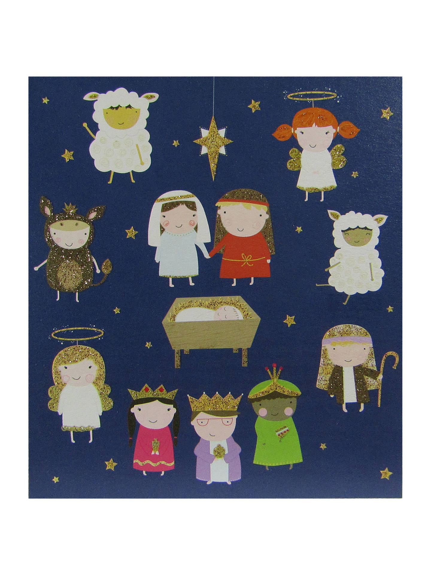 Woodmansterne Flittered Nativity Charity Christmas Cards, Pack of 5 ...