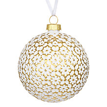 Buy John Lewis Winter Palace Floral Tile Bauble, White Online at johnlewis.com