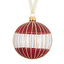 Buy John Lewis Mitsuko Glitter Stripe Dip Bauble, Ruby Online at johnlewis.com