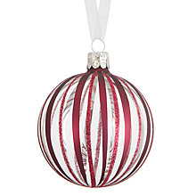 Buy John Lewis Mitsuko Glitter Stripe Bauble, Ruby Online at johnlewis.com