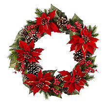 Buy John Lewis Glittered Poinsettia Wreath, Dia.55cm, Green/Red Online at johnlewis.com