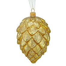 Buy John Lewis Into the Woods Glitter Pine Cone Bauble, Gold Online at johnlewis.com
