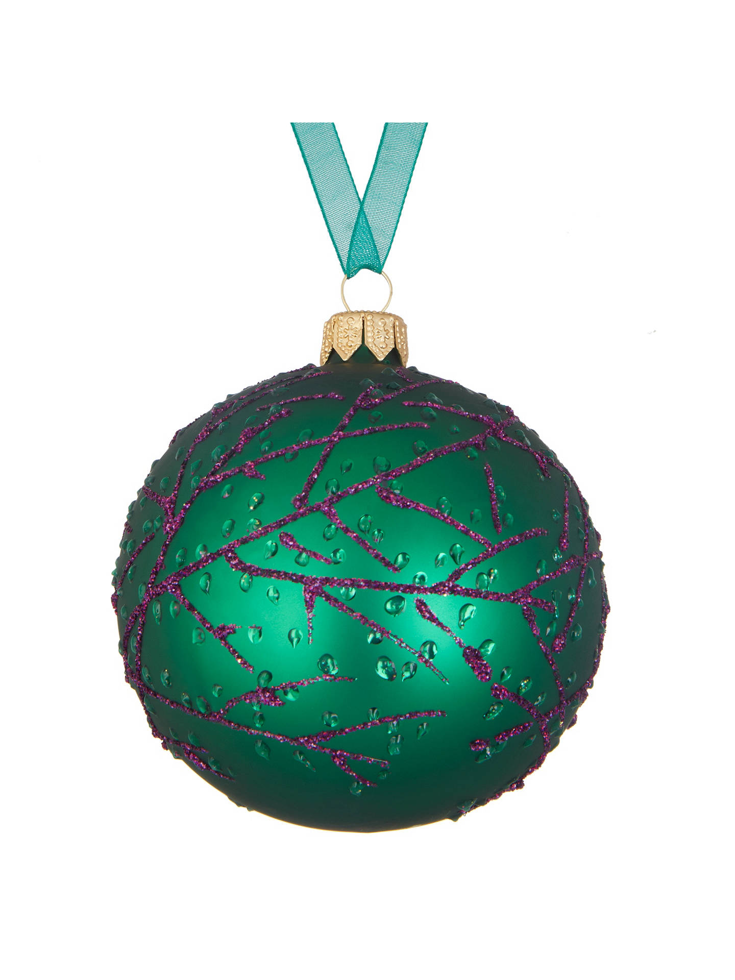 john lewis into the woods glittered twig bauble green at. Black Bedroom Furniture Sets. Home Design Ideas