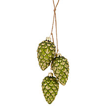 Buy John Lewis Into the Woods Glittered Pine Cone Trio Tree Decoration, Green Online at johnlewis.com
