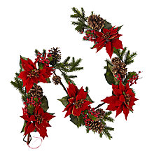 Buy John Lewis Glittered Poinsettia Garland, L150cm, Red / Gold Online at johnlewis.com