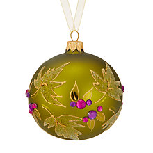 Buy John Lewis Into the Woods Leaf Bauble, Green / Purple Online at johnlewis.com