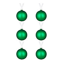 Buy John Lewis Lima Llama Pearlised Baubles, Set of 6, Green Online at johnlewis.com