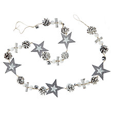 Buy John Lewis Highland Myths Jingle Bell Garland, L180cm, Grey/Cream Online at johnlewis.com