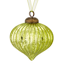 Buy John Lewis Into the Woods Mercurised Ribbed Onion Bauble, Green Online at johnlewis.com