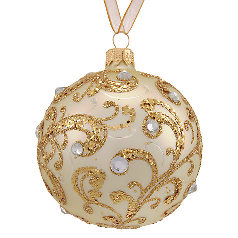 buy john lewis winter palace swirl bauble with gems gold. Black Bedroom Furniture Sets. Home Design Ideas