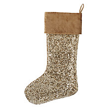 Buy John Lewis Tales of the Maharaja Sequin Stocking, Gold Online at johnlewis.com