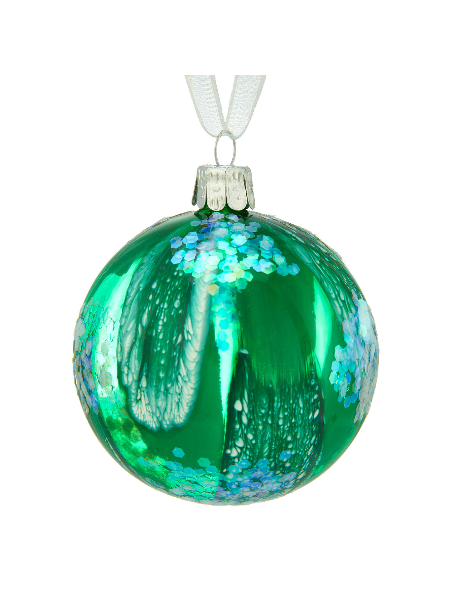 BuyJohn Lewis Into the Woods Marbled Sequin Bauble, Green Online at johnlewis.com