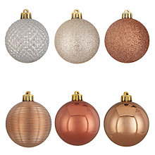 Buy John Lewis Highland Myths Shatterproof Baubles, Tub of 30, Copper Online at johnlewis.com