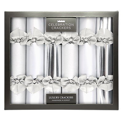 Celebration Crackers Luxury Handmade Diamante Christmas Crackers, Pack of 6, Silver
