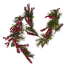 Buy John Lewis Red Berry And Pine Garland, L180cm Online at johnlewis.com